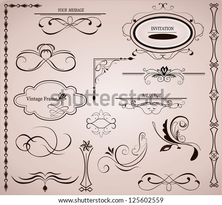 Vector set: calligraphic design elements and page decoration.Frame. - stock vector