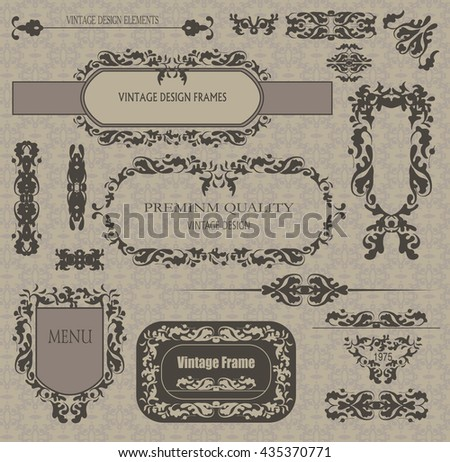 vector set: calligraphic design elements and page decoration, framework. - stock vector