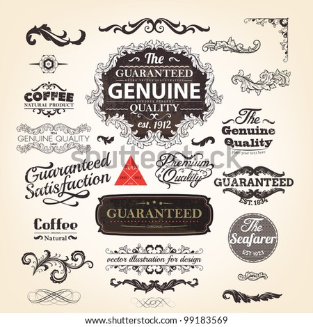 vector set: calligraphic design elements and page decoration, Genuine Premium Quality and Satisfaction Guarantee Label design collection