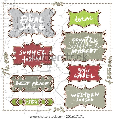 Vector set calligraphic design elements and page decoration in country, western style. A lots of useful elements to embellish layout, unusual frames in grunge retro style for clothes shop or magazine