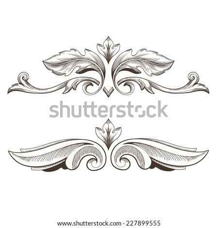 Vector set: calligraphic design elements and page decoration - lots elements - stock vector