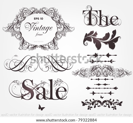 vector set: calligraphic design elements and page decoration - lots of useful elements to embellish your layout, detailed antique and baroque frames with retro flowers and floral borders. eps 10. - stock vector
