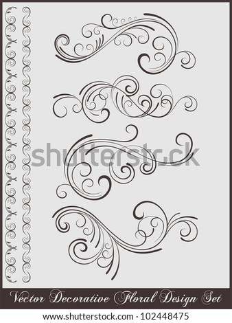 vector set: calligraphic design elements and page decoration - lots of useful floral elements to embellish your layout - stock vector