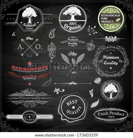 vector set: calligraphic design elements and page decoration, Premium Quality and Natural Product Label collection with black grungy design. Chalkboard variant illustration. - stock vector