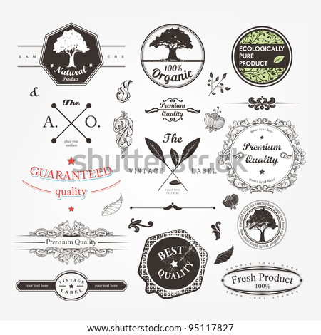 vector set: calligraphic design elements and page decoration, Premium Quality and Natural Product Label collection with black grungy design - stock vector