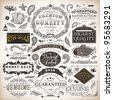 vector set: calligraphic design elements and page decoration, Premium Quality and Satisfaction Guarantee Label collection with vintage engraving flowers - stock vector