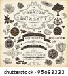 vector set: calligraphic design elements and page decoration, Premium Quality and Satisfaction Guarantee Label collection with vintage frames and engraving - stock vector