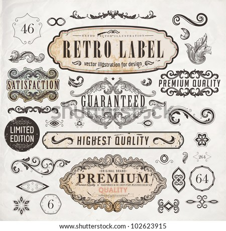 vector set: calligraphic design elements and page decoration, Premium Quality and Satisfaction Guarantee Label collection with black grungy rust design - stock vector