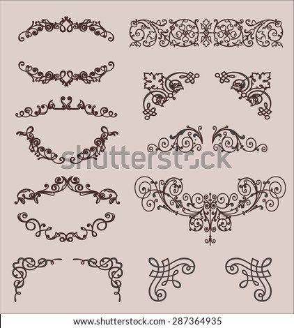 vector set: calligraphic design elements and page decoration, Premium Quality and Satisfaction Guarantee Label collection with vintage engraving flowers. - stock vector