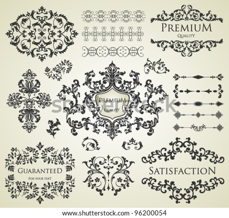 vector set: calligraphic design elements and page decoration, Premium Quality and Satisfaction Guarantee Label - stock vector