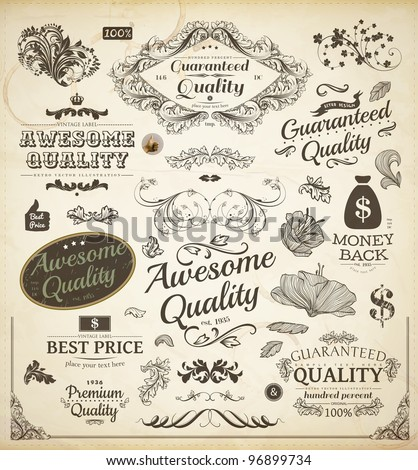 vector set: calligraphic design elements and page decoration, Premium Quality and Satisfaction Guarantee Label collection with vintage frames | Engraving flowers and leafs - stock vector