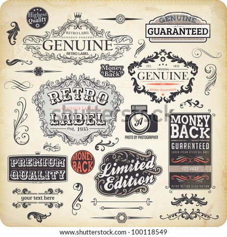 vector set: calligraphic design elements and page decoration, Premium Quality, Limited Edition and Genuine Guarantee Label collection with vintage frames