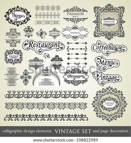 vector set: calligraphic design elements and page decoration, Premium Quality , Restaurant Menu, Coffeehouse, and Vintage Label. - stock vector