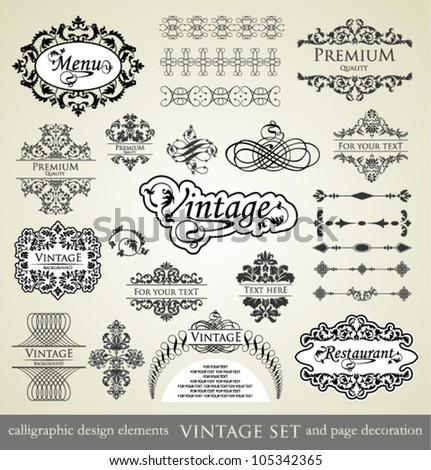 vector set: calligraphic design elements and page decoration, Premium Quality , Restaurant Menu and Vintage Label. - stock vector