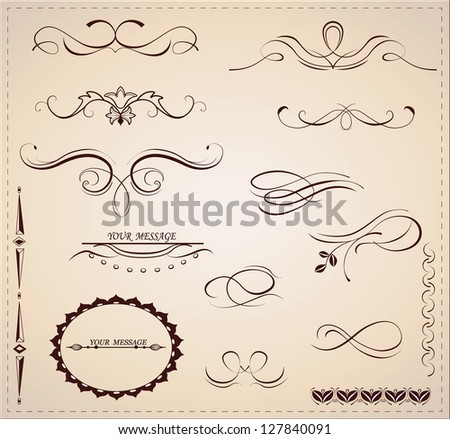 Vector set: calligraphic design elements and page decoration.Vector set 11. - stock vector