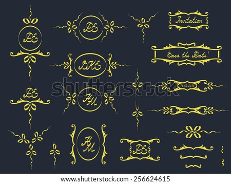 Vector set: calligraphic design elements and page decoration Vintage design elements Monogram, initials, DE, HM, BKE, Invitation, 14.02.2016, Save the Date Vector illustration - stock vector