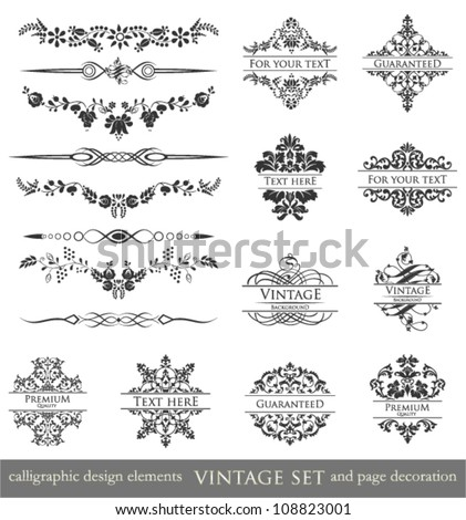 vector set: calligraphic design elements and page decoration, Vintage Frame, Premium Quality and Guarantee Label. - stock vector