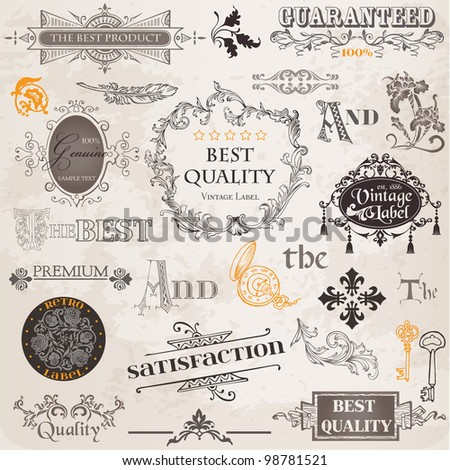 Vector Set: Calligraphic Design Elements and Page Decoration, Vintage Label collection with Flowers - stock vector