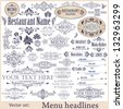 Vector set: calligraphic design elements for menu or its. - stock vector