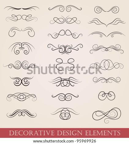 vector set calligraphic design elements retro style - stock vector
