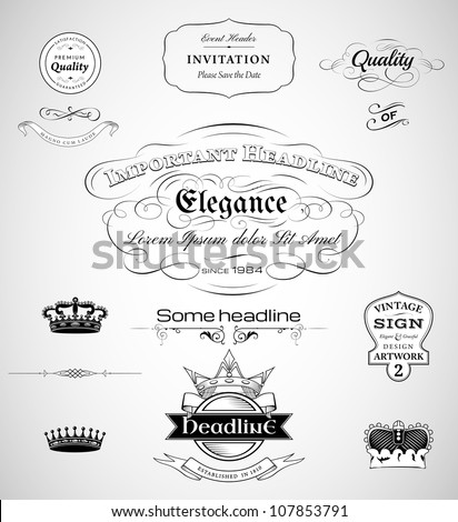 vector set: calligraphic design elements, vintage labels, crowns and page decoration - stock vector