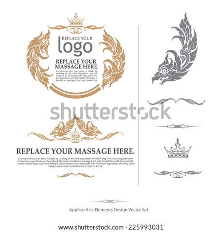 vector set: calligraphic design premium elements and page  decoration - lots of useful elements to embellish your layout, thai art - stock vector