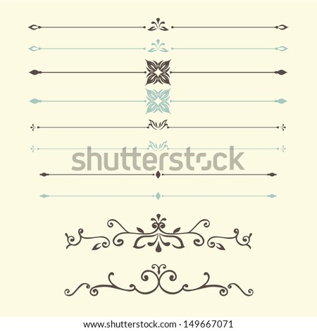 vector set: calligraphic design vintage elements and page decoration - lots of useful elements to embellish your layout - stock vector