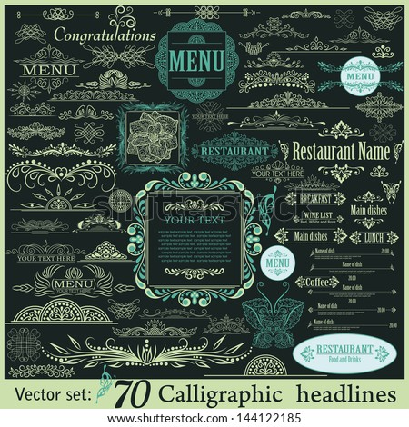 Vector set: calligraphic vintage design elements - stock vector