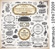 vector set: calligraphic vintage design elements collection and page decorations, Premium Quality, Genuine and Satisfaction, Guaranteed Labels with engraving flowers for retro design - stock vector