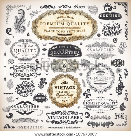 vector set: calligraphic vintage design elements collection and page decorations, Premium Quality, Genuine and Satisfaction, Guaranteed Labels with engraving flowers for retro design