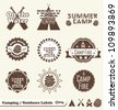 Vector Set: Camping and Outdoor Label and Sticker Elements - stock vector