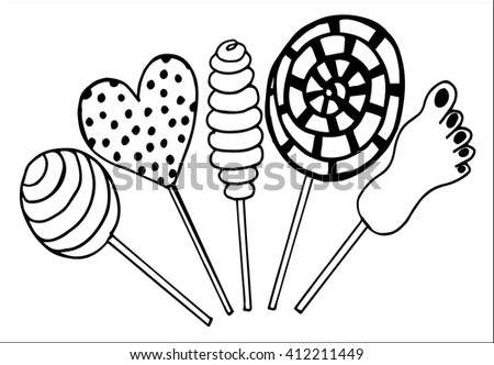Vector set candies. Doodle style, hand drawing  - stock vector