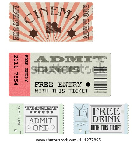Vector set: cardboard tickets in different styles - stock vector