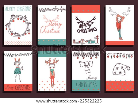 Vector Set Christmas Calligraphic Design Elements and Page Decoration, Vintage Frames - stock vector
