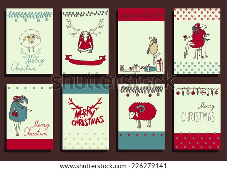 Vector Set Christmas Calligraphic Design Elements and Page Decoration, Vintage Frames sheep