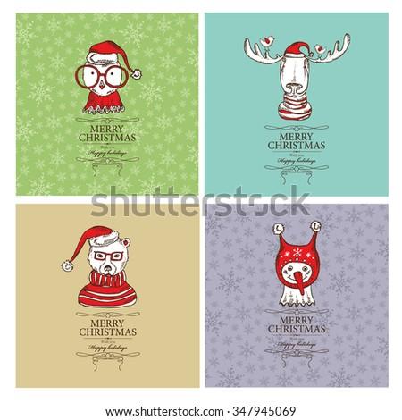 Vector set: Christmas cards with Christmas elk , owl, bear and snowman. Hand drawn  - stock vector