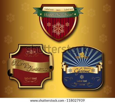 vector set: christmas labels with golden ribbons - stock vector