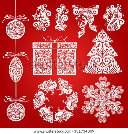 Vector set Christmas ornate symbols, design elements, objects. Calligraphy illustration. Christmas tree, Christmas wreath, Christmas decorations, snowflake, gift,  bell, star, decor elements - stock vector