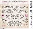 Vector set classic. Calligraphic design elements ornament decoration retro - stock vector