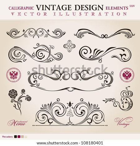 Vector set classic. Calligraphic design elements ornament decoration retro - stock vector
