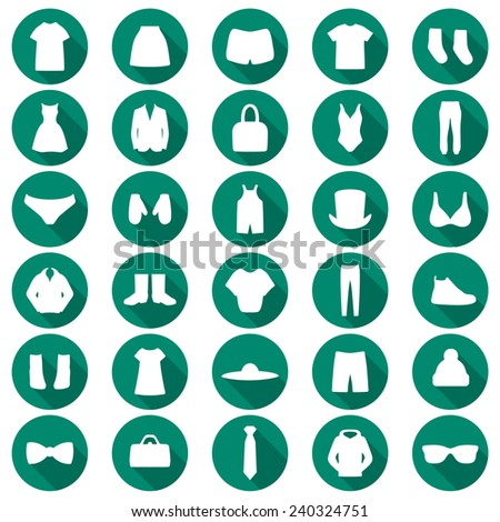 vector set clothes illustration, fashion set isolated icons  - stock vector