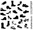 vector set (collection) of black shoes silhouettes on white background - stock photo