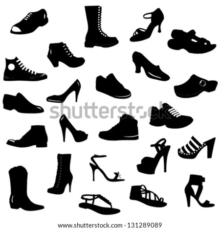 vector set (collection) of black shoes silhouettes on white background - stock vector