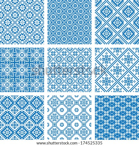 Vector set collections of nine 9 blue and white ornamental ethnic seamless patterns - stock vector