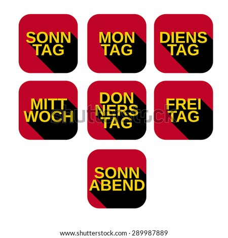 Vector set color square icons with titles of days of the week from Monday to Sunday on german - stock vector