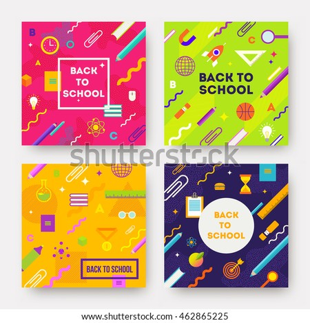 Vector set - colorful abstract backgrounds with school object and supplies.