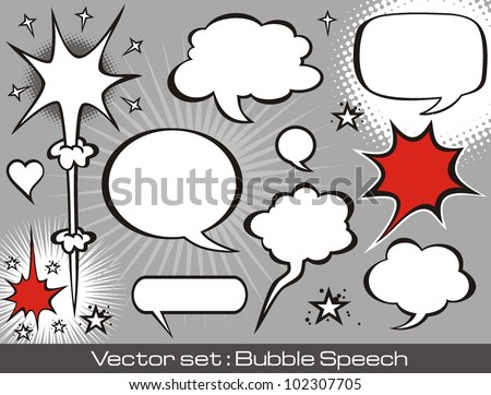 Vector set :comics speech bubbles illustration - stock vector