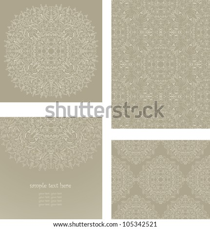 Vector set consisting of a round floral pattern, elegant card and two samples of seamless wallpaper in pastel colors - stock vector