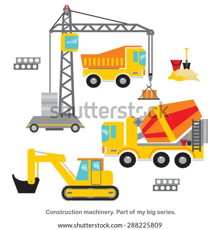 Vector set. Construction machinery. Part of my big series.