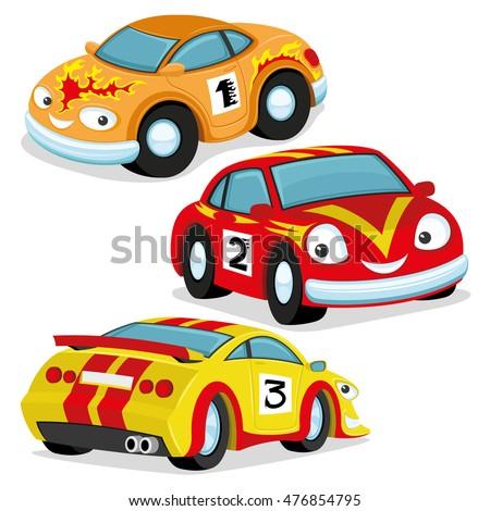 Vector Set Racing Cars Stock Vector Shutterstock